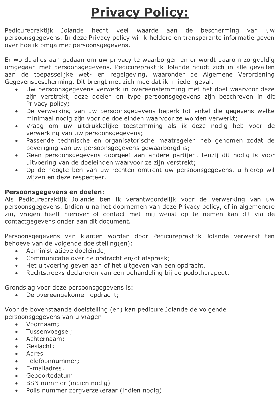 Privacy Policy Pedicurepraktijk Jolande 1