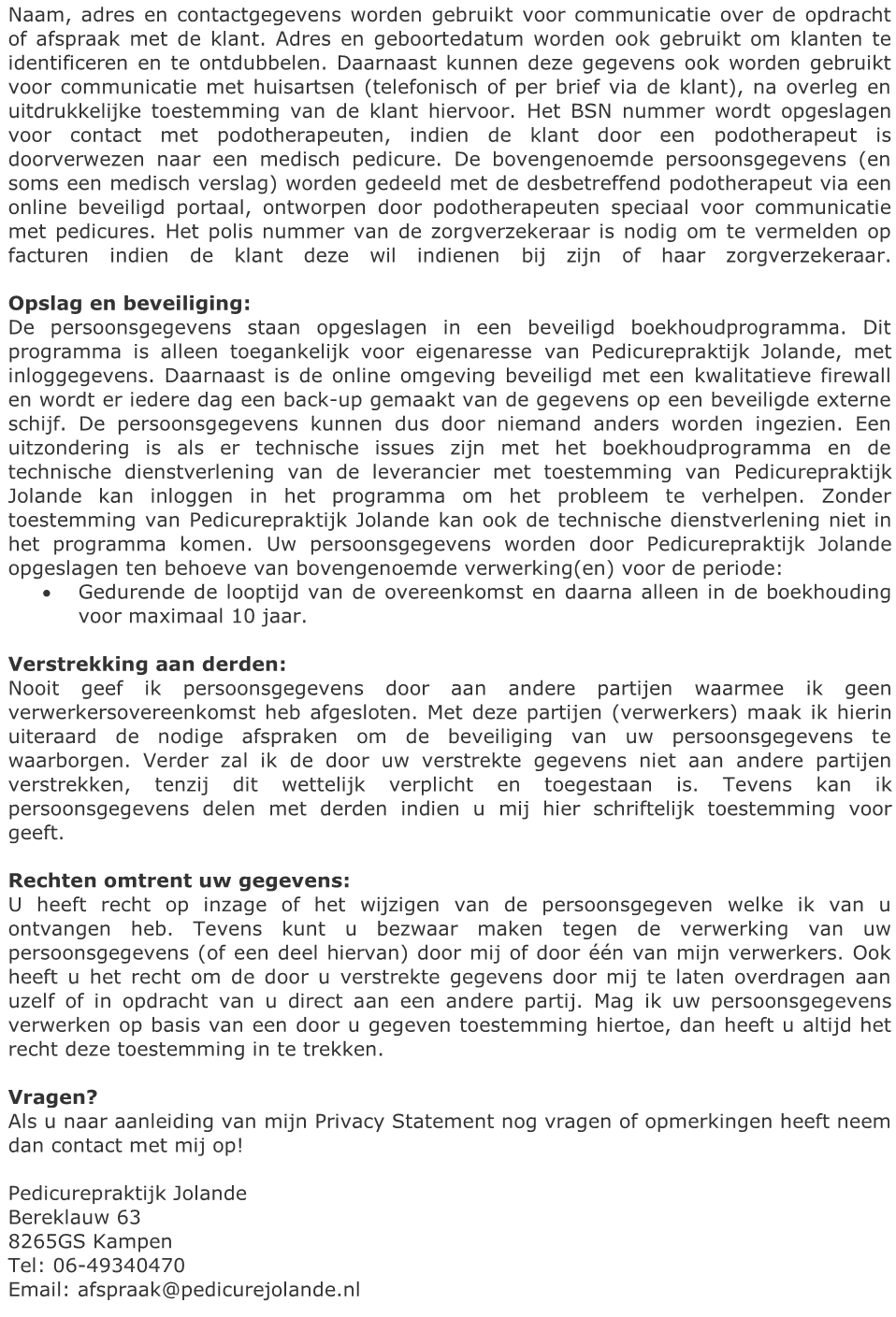 Privacy Policy Pedicurepraktijk Jolande 2